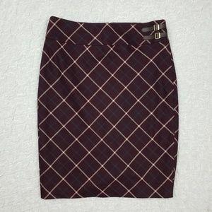 The Limited Maroon Plaid Tartan Pencil Skirt NWT
